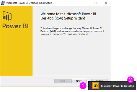 Power BI Desktop x64 Setup screen