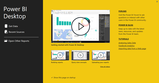 Power BI welcome screen