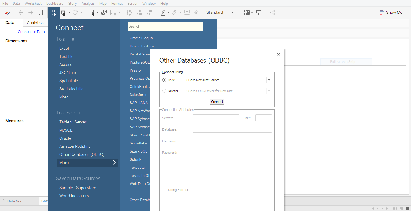 Connecting Tableau to CData NetSuite Source Sys
