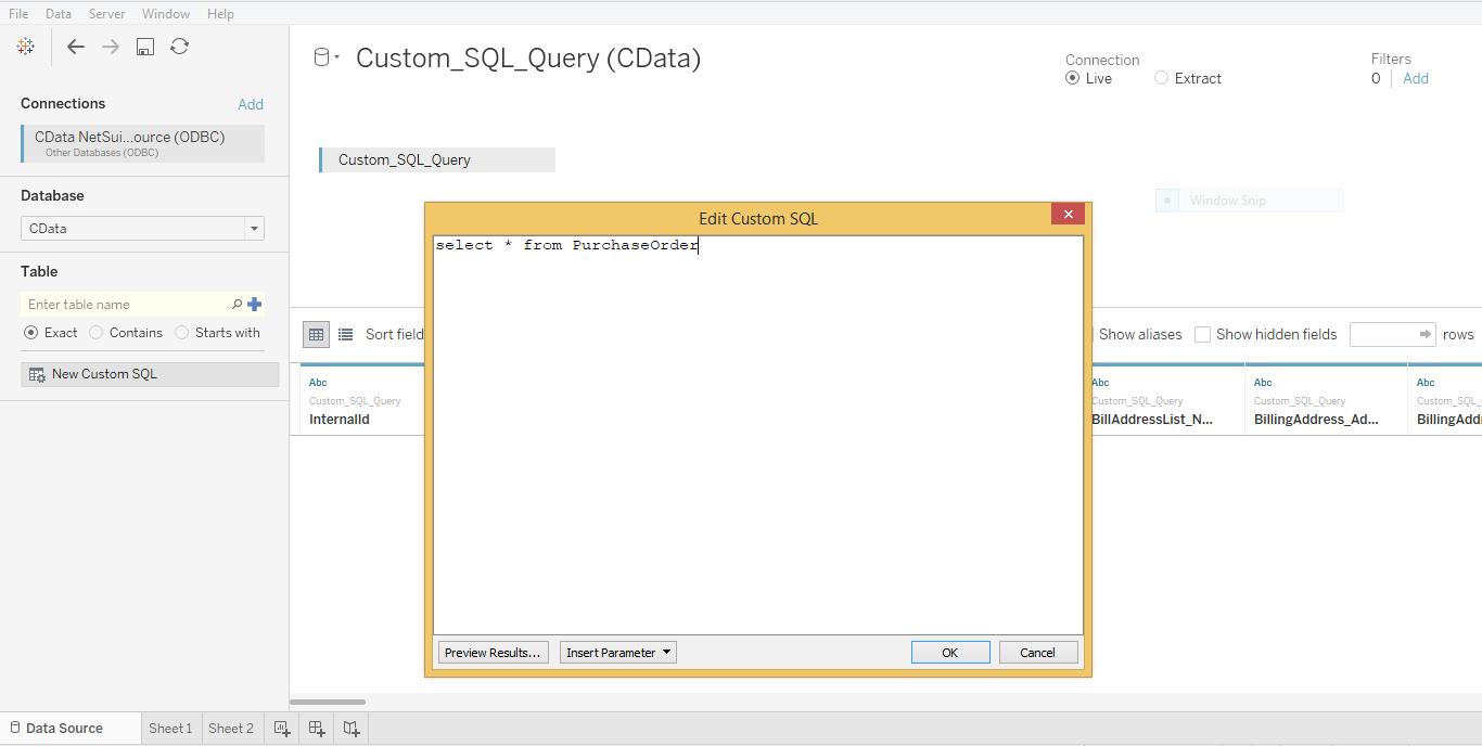 Entering Custom SQL in Tableau