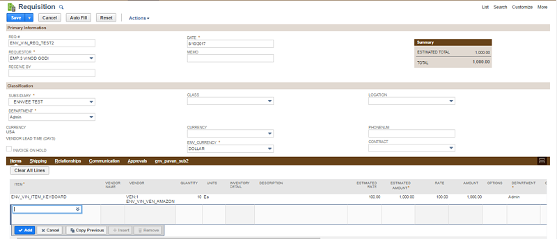 Creating a requisition in NetSuite