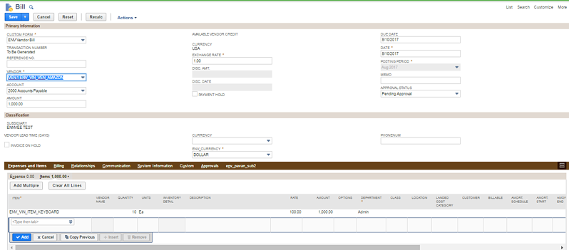 Creating invoice for NetSuite receipt