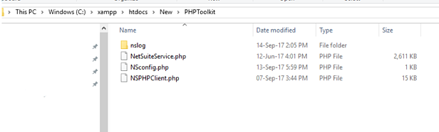 Create empty folder inside PHPtoolkit folder