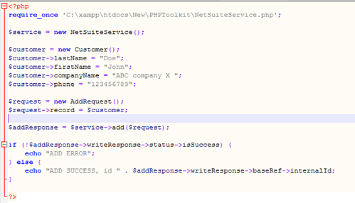 Sample PHP Code for adding a customer in NetSuite
