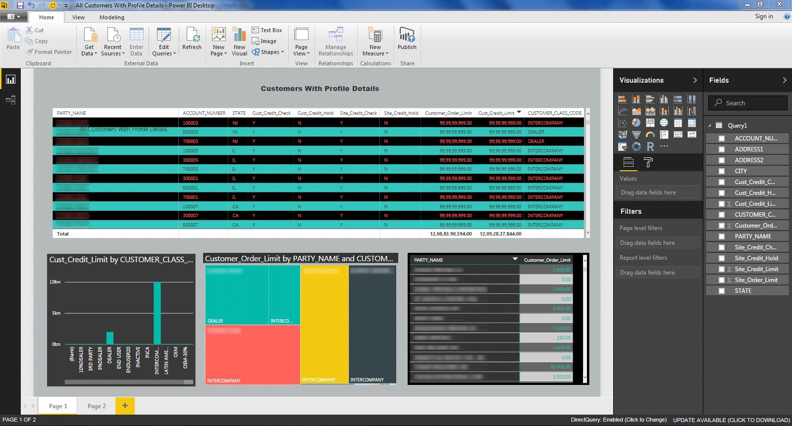 power bi customer profile report