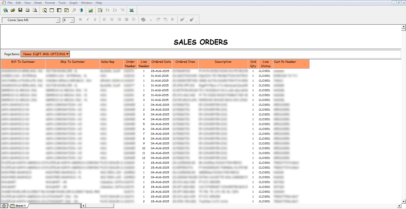oracle discoverer sales order report