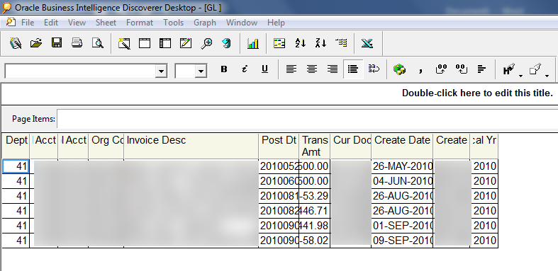 Oracle Discoverer report before converting to Power BI