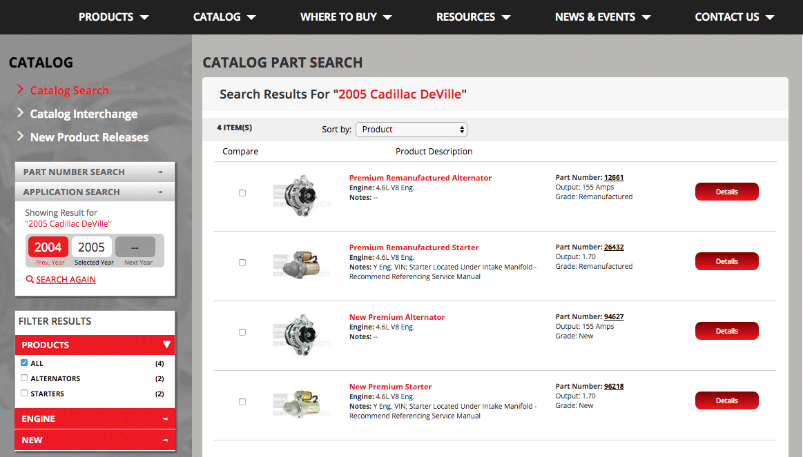 Automotive Parts eCatalog Search Filter Results Page