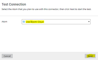 Selecting the Use Boomi Cloud Atom to test NetSuite connection